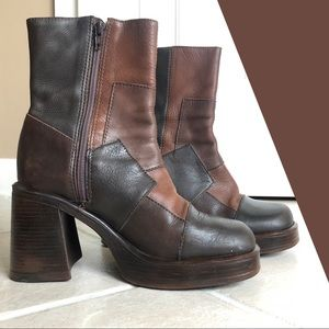 ❀ VTG Steve Madden leather colorblock boots
